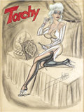 Illustration:Pin-Up, BILL WARD (American 1919 - 1998) . Torchy, undated .Mixed-media on paper . 25 x 19-1/2in. . Signed lower right...