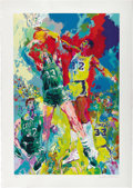 Basketball Collectibles:Others, 1988 Magic Johnson & Larry Bird Serigraph by Leroy Neiman. Kaleidoscopic image by the reigning king of sports art captures ...