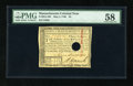 Colonial Notes:Massachusetts, Massachusetts May 5, 1780 $3 PMG Choice About Unc 58 HOC. Thesmallest of corner tip folds is noted on this otherwise New no...