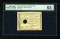 Colonial Notes:Massachusetts, Massachusetts May 5, 1780 $7 PMG Choice Uncirculated 63 HOC. Apleasing piece with broad margins on three sides and bold sig...