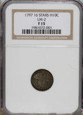 Early Half Dimes: , 1797 H10C 16 Stars Fine 15 NGC. V-4, LM-2, R.4. The dove-graydevices are sharply defined for the Fine 15 grade, and displa...