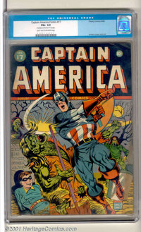 Captain America Comics #17 (Timely, 1942). A superb Al Avison cover of Cap punching out some green-skinned monsters sets...