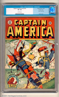 Captain America Comics #32 Crowley pedigree (Timely, 1943). This exceptional high-grade copy has a wonderful WWII cover...