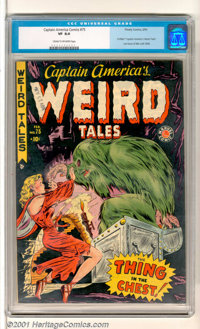 """Captain America Comics #75 (Timely, 1950). Very scarce last Golden Age issue titled """"Captain America's Weird Tales&..."""