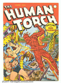 """The Human Torch #8 (Marvel, 1942). Classic key battle issue as the Human Torch """"dukes it out"""" with the Sub-Mar..."""