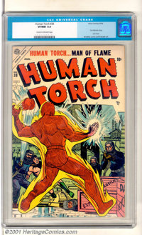The Human Torch #38 (Timely, 1954). Tough-to-find last issue for this title has cover art by Sol Brodsky and a Sub-Marin...