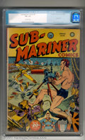 Golden Age (1938-1955):Superhero, Sub-Mariner Comics #5 (Timely, 1942). A classic cover, with Sub-Mariner single-handedly protecting America from an Axis inva...