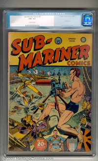 Sub-Mariner Comics #5 (Timely, 1942). A classic cover, with Sub-Mariner single-handedly protecting America from an Axis...