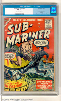 """Sub-Mariner Comics #42 (Atlas, 1955). The Sub-Mariner """"Fights Commies and Crooks"""" on the cover and interior of..."""
