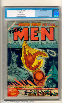 Young Men #25 (Atlas, 1954). With the end of World War II, Captain America, the Human Torch, and the Sub-Mariner were pr...