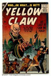 The Yellow Claw #1 (Atlas, 1956). Low-grade copy of this scarce first issue has good colors and gloss with supple off-wh...