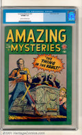 """Golden Age (1938-1955):Horror, Amazing Mysteries #33 (Marvel, 1949). The very first horror comicfrom Marvel cover features """"The Thing in the Vault!"""" A bea..."""