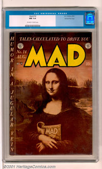 Mad #14 Gaines File pedigree 3/12 (EC, 1954). A suitably classical cover (who knew Mona readsMad?) for a classic humor...