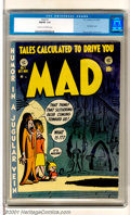 "Golden Age (1938-1955):Humor, Mad #1 (EC, 1952). First issue featuring ""Humor in a Jugular Vein"" and ""Tales Calculated to Drive You Mad"". Considered to be..."