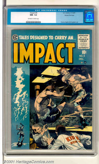 Impact #5 Gaines File pedigree 9/12 (EC, 1955). Classic Jack Davis boxing cover. This book shows a very small chip at th...