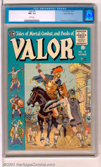 Valor #4 Gaines File pedigree 12/12 (EC, 1955). A stunning example of this book with a beautiful royal blue cover depict...
