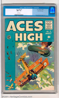 Aces High #3 Gaines File pedigree 12/12 (EC, 1955). With a stunning George Evans bi-plane cover, this is a true gem from...