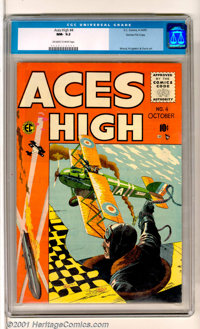 Aces High #4 Gaines File pedigree 12/12 (EC, 1955). Exciting George Evans aviation cover. A superb book from an importan...