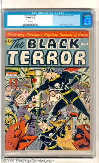 The Black Terror #4 (Nedor Publications, 1943). A great wartime cover by Alex Schomburg with the Black Terror socking a...