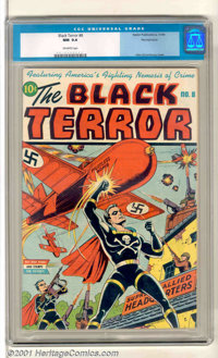 The Black Terror #8 Pennsylvania pedigree (Nedor Publications, 1944). A classic Schomburg WWII cover highlights this hig...
