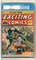 Golden Age (1938-1955):Superhero, Exciting Comics #26 Mile High pedigree (Nedor Publications, 1943). A truly exciting Schomburg WWII cover highlights this Gol...