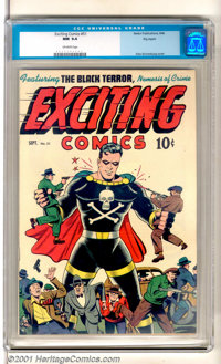 """Exciting Comics #51 Big Apple pedigree (Nedor Publications, 1946). The Black Terror has crime """"In Hand"""" and on..."""