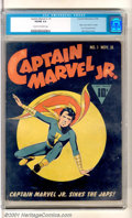 "Golden Age (1938-1955):Superhero, Captain Marvel, Jr. #1 (Fawcett, 1942). Debut issue stars the ""World's Mightiest Boy"" with superb cover and interior art by ..."