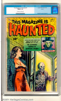 "Golden Age (1938-1955):Horror, This Magazine Is Haunted #5 Aurora pedigree (Fawcett, 1952). HostDoctor Death oversees ""The Slithering Horror of Skontong S..."