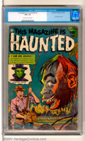 "Golden Age (1938-1955):Horror, This Magazine Is Haunted #10 (Fawcett, 1953). Classic ""Severed Headin the Bog"" cover. Full deep blue color inks and good gl..."