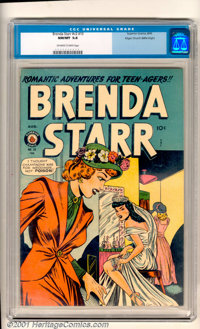 """Brenda Starr (Vol. 2), #10 Mile High pedigree (Superior, 1949). Featuring """"Romantic Adventures for Teen-agers""""..."""