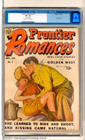 """Golden Age (1938-1955):Romance, Frontier Romances #1 (Avon, 1949). This first issue has """"Real LoveStories of the Golden West"""" and has an eye-catching paint..."""