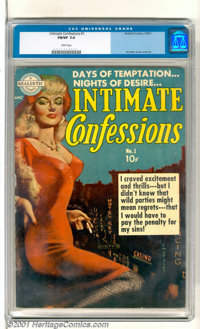 """Intimate Confessions #1 (Realistic Comics, 1951). The cover says it all, """"Days of Temptation...Nights of Desire...&..."""
