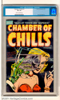 Golden Age (1938-1955):Horror, Chamber of Chills #19 (Harvey, 1953). Tales of Terror and Suspensewith an eye-catching black cover and great colors and glo...