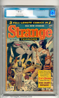 Golden Age (1938-1955):Horror, Strange Terrors #7 (St. John, 1953). A 100-page giant issue with anunusual male bondage cover by Joe Kubert. The square-bou...