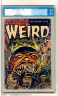 Golden Age (1938-1955):Horror, Weird Tales of the Future #7 (Aragon, 1953). Classic hell cover (byBernard Bailey) as the damned emerge from the devil's mo...