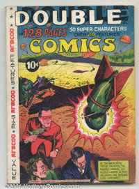 "Double Comics #1 (Elliot, 1940). Large 128 page issue has ""Double Features"", ""Double Size"" and ""..."