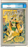 Golden Age (1938-1955):Adventure, Fight Comics #43 Big Apple pedigree (Fiction House, 1946). Great pagan sacrifice-bondage cover highlights this issue with in...