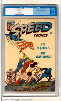 Speed Comics #38 Mile High pedigree (Harvey, 1945). Super-killer copy of this classic WW II patriotic cover that re-enac...