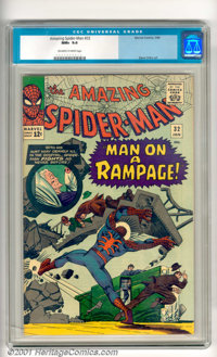 "The Amazing Spider-Man #32 Slabodian pedigree (Marvel, 1966). Spidey stars in ""Man on a Rampage!"" Cover and st..."