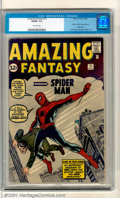 Silver Age (1956-1969):Superhero, Amazing Fantasy #15 (Marvel, 1962). The Granddaddy of all Silver Age Keys, featuring the very first appearance of Spider-Man...