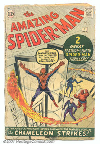 The Amazing Spider-Man #1 (Marvel, 1963). A complete, very low-grade copy of this super-key book. Heavy overall wear on...