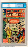 Silver Age (1956-1969):Superhero, The Avengers #1 (Marvel, 1963). Origin and first appearance of TheAvengers (Thor, Iron Man, the Hulk, Ant-Man and the Wasp)...