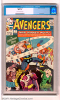 """Silver Age (1956-1969):Superhero, The Avengers #7 (Marvel, 1964). The Avengers take on the Enchantress, the Executioner and Baron Zemo in """"Their Darkest Hour!..."""