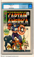 Silver Age (1956-1969):Superhero, Captain America #100 (Marvel, 1968). The American icon and greatest defender of freedom and liberty rushes forward to lead t...