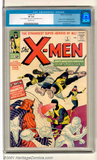 """X-Men #1 (Marvel, 1963). The beginning of Marvel's Mutant Dynasty! A great high-grade copy, CGC notes """"12.00""""..."""