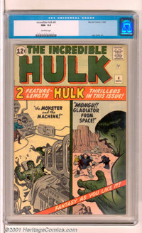 The Incredible Hulk #4 (Marvel, 1962). Early issue stars the Hulk in two feature-length stories with vintage cover and i...