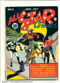 All-Star Comics #5 (DC, 1941). Key book features the first appearance of Hawkgirl (the first costumed super-heroine). So...