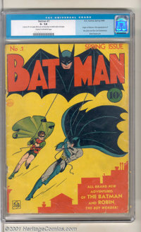 Batman #1 (DC, 1940). A rough but complete copy of this seminal key; the Caped Crusaders swing into action for their ver...