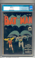 Golden Age (1938-1955):Superhero, Batman #3 (DC, 1940). Early issue with a classic Bob Kane cover features the first costumed appearance of the Catwoman. Nice...