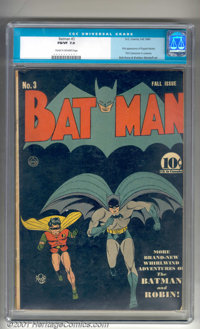 Batman #3 (DC, 1940). Early issue with a classic Bob Kane cover features the first costumed appearance of the Catwoman...